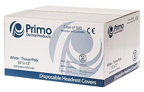 Primo Dental Products HC200WH Headrest Covers Paper Tissue Poly, 10