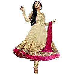 Dipak Fashion New Designer Beige Fancy Embroidery Georgette Salwaar Kurti For Women