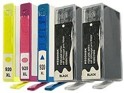Remanufactured HP No 920XL 920 XL 5-Pack Full SET 1 Extra Black (2xBlack Cyan Magenta Yellow) Printer Ink (CD972 CD973 CD974 CD975)