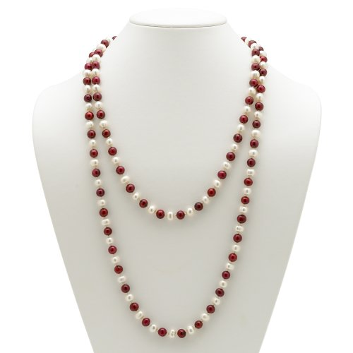 PalmBeach Jewelry Ruby Red and White Cultured Freshwater Pearl Necklace