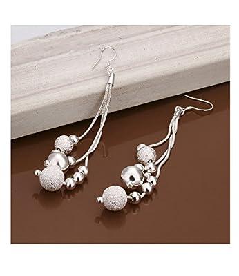 Fashion Silver Plated 925 Long Tassels Dangle 5 Small Ball Drop Statement Hook Earrings for Women