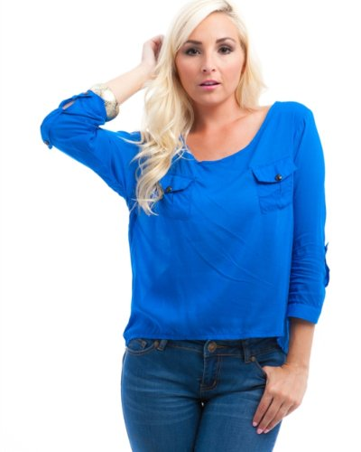 MOD 20 Women's Double Pocket Cuffed Sleeve Top Royal Blue OS(A0108)