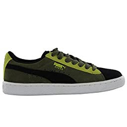 PUMA Suede JR Sneaker (Little Kid/Big Kid) , Black/Burnt Olive/Sulphur Spring, 6 M US Big Kid