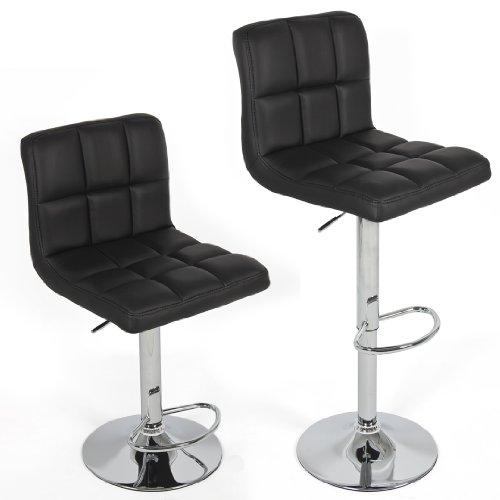 Modern Set of (2) Brand New Black Swivel Leather Bar Stool Pub Barstools