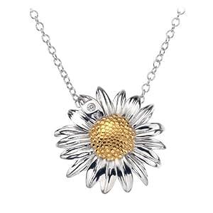 Hot Diamonds 18ct Yellow Gold Plated Daisy Pendant length 43cm + 8cm extender