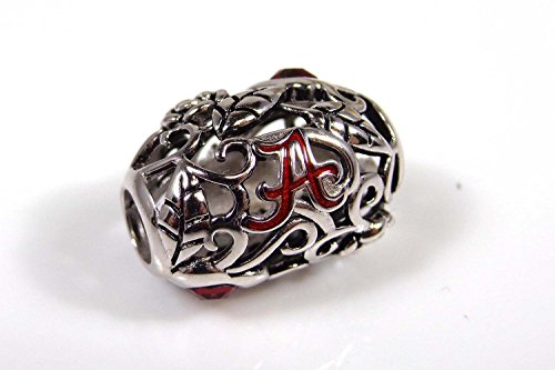 Alabama Crimson Tide Organic Sterling Silver and Crystal Bead