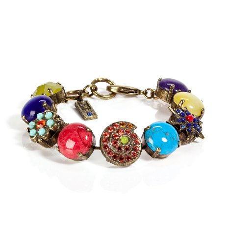 Fashionable Bracelet by Amaro Jewelry Studio 'Vintage' Collection Ornate with Shell, Flower and Star Ornaments, Chinese Turquoise, Amazonite, Rhodonite, Blue Onyx, Pink Howlite, Yellow Jade, Green Jade, Amethyst, Swarovski Crystals