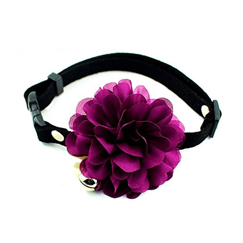 "PETFAVORITESâ""¢ Designer Wedding Flower Suede Leather Pet Cat Dog Bow Tie Collar Necklace Jewelry with Bell Charm for Pets Cats Medium Large Dogs Female Puppy Yorkie Girl (Purple, Size: 10"