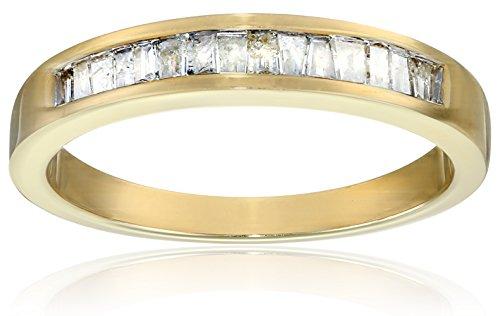 10k Yellow Gold Baguette Channel-Set Diamond Ring (1/5 cttw, J-K Color, I2-I3 Clarity), Size 8