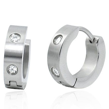 Stainless Steel Huggie Earrings with CZs in Gift Box