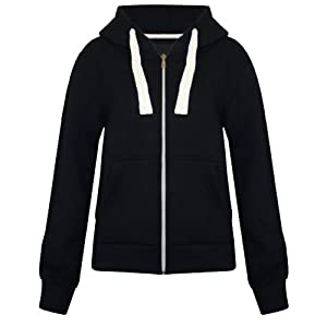 Unisex Ladies New Plain Casual Long Sleeve Pocket Hoody Top Womens Fixed Hood Stretch Front Zip Contrast Drawstring Detail Basic Hooded Jacket WOMENS PLAIN HOODIE LADIES HOODED ZIP ZIPPER TOP SWEAT SHIRT JACKET COAT SWEATER (UK 10 MEDIUM, BLACK)