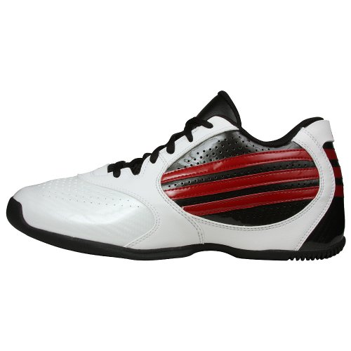 adidas Men's Attack Feather Lo Basketball Shoe,White/Black/Red,8.5 M