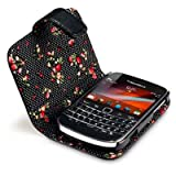Terrapin Premium PU Leather Wallet Case with Floral Interior for Blackberry Bold 9900 - Blackby TERRAPIN