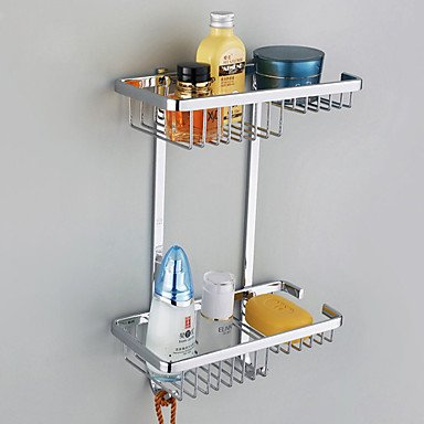 Stainless Steel Bathroom Double-deck Storage Basket classic wall mounted antique brass bathroom soap basket bath shower shelf basket holder building material vintage elegant 9013k