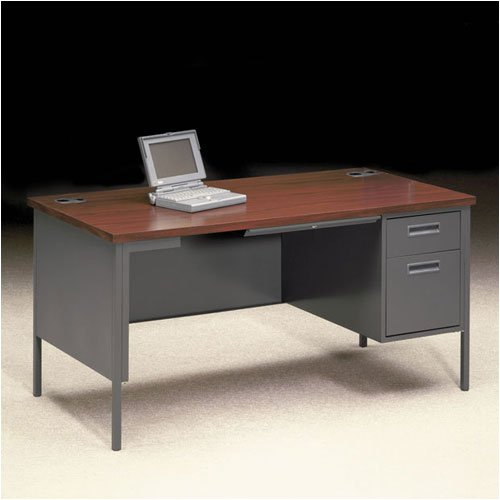 "HON P3251R+WP Metro Classic 48"" W Right Pedestal Office Desk Finish: Walnut/Black"