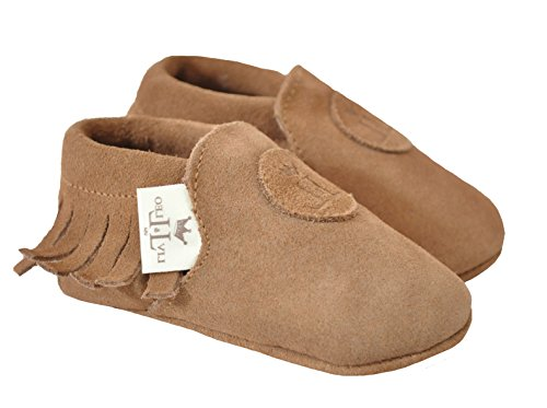 Liv & Leo Baby Boys Girls Moccasins Soft Sole Crib Shoes Slip-on 100% Leather (6-12 Months, Brown Suede)