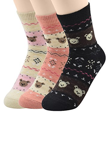Century Star 3 Pairs Ultra Light Thermal Cashmere Cotton Blend Functional Socks 3 Pack Teddy Bear