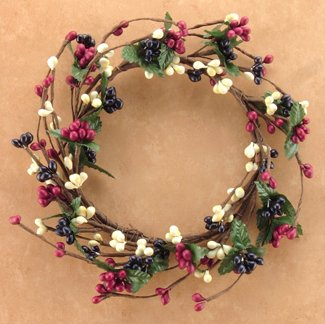 Country Mix Pip Berry Ring Mini Wreath Ivory Navy Burgundy Berries Primitive Floral Décor