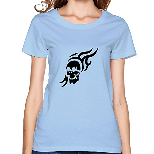 Printed Flaming Skull Graphic Women Tee