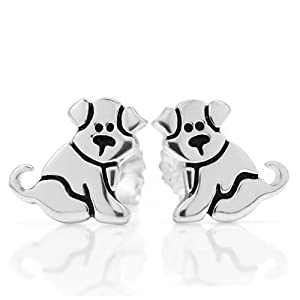 925 Sterling Silver Small Cute Puppy Dog Post Stud Earrings 11 mm Fashion Jewelry for Women, Teens, Girls - Nickel Free by Chuvora