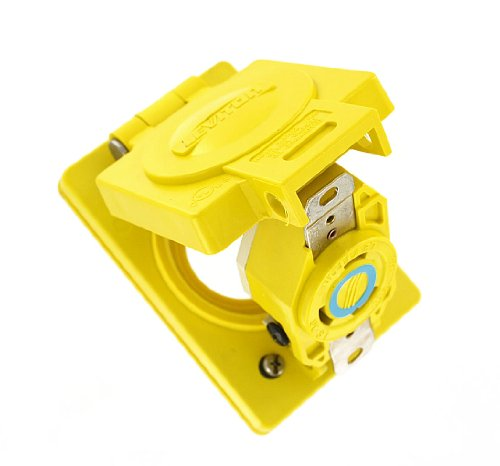 Leviton 69W48 30 Amp, 250 Volt, Flush Mounting Locking Receptacle, Industrial Grade, Grounding, Wetguard With Cover, Yellow