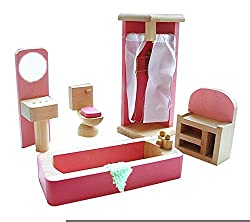 Cute Kids Wooden Play House Toys Assembling Bathroom Furniture Toys