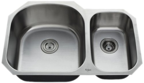 Review Kraus KBU23 32-Inch Undermount 70/30 Double Bowl 16 gauge Kitchen Sink, Stainless Steel