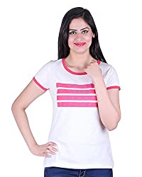 Kally Women's Cotton Printed Regular Fit Top (TP7401, Off-White, X-Large)