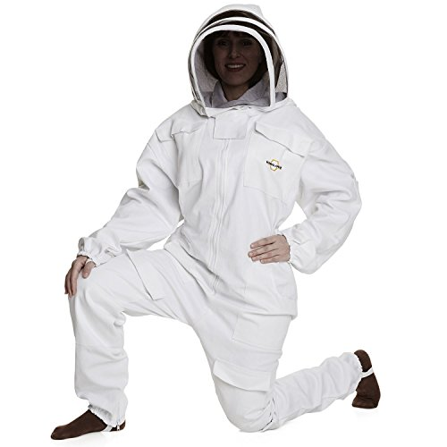 NATURAL APIARY BEEKEEPING SUIT - WHITE - LARGE - Complete, Full (All-in-One) - Fencing Veil - Easy to Wear & Remove - Bee Proof Seals - Professional & Beginner Beekeepers (Full Fencing Suit compare prices)