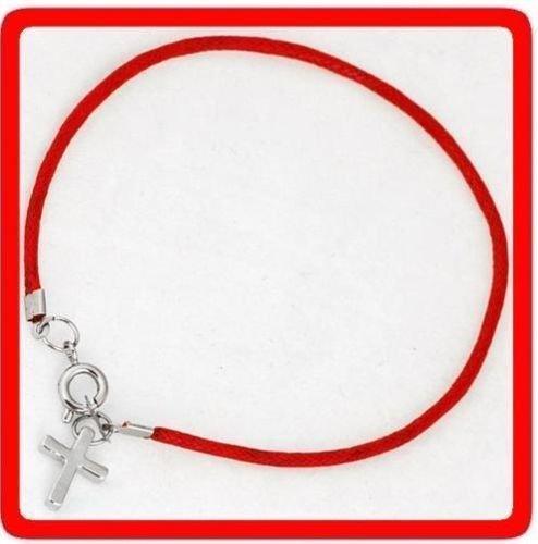 Kabbalah Red String Bracelet with Silver Cross