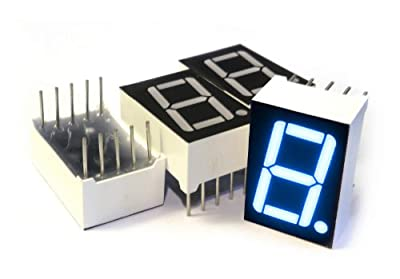 microtivity IS131 7-segment LED Display, 1 Digit Blue Common Cathode (Pack of 4) by microtivity