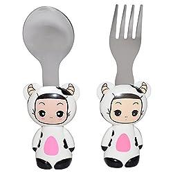 FatLady Cartoon Baby Spoon & Fork, 2Pcs, White