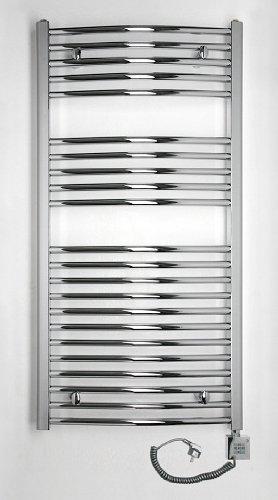 Badheizkörper, elektrisch 1175 x 500, chrom, gebogen