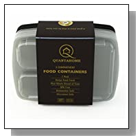 Quantahome 7 Pack. 3 compartment reusable food storage containers-Bento box set best for portion calorie control & Meal Prep-Easy Storage & carry-Freezer,Microwave and dishwasher safe-Premium BPA free