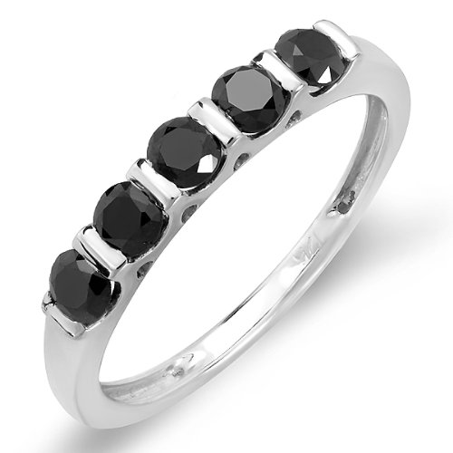 0.75 Carat (ctw) Sterling Silver Round Black Diamond Ladies Anniversary Wedding Stackable Band Ring