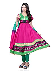 Diva Fusion Womens Cotton Anarkali Semi-Stitched Dress Material (Dfa107 _Pink)