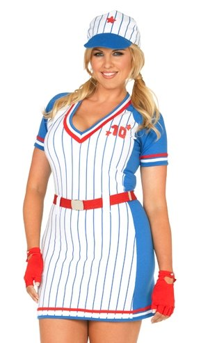 [All American Baseball Player Plus Size Costumes] (Womens Baseball Costumes)