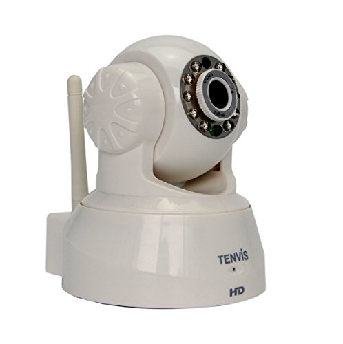 TENVIS JPT3815W-HD Wireless IP Security Camera, Remote Live View, Capture Picture and Video Clip, Pan & Tilt, Plug&Play, with Two-Way Audio and Night Vision, Motion Detection with Alert (White)