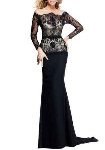 IBEAUTY DRESS Red Black Lace Slim Long Sleeve Wedding Evening Dress E8751 WZ1836 Black US 6