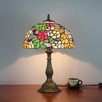 glass european garden flowers table lamp bedroom lamp bedside lamp