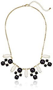 Black and White Cabochon Circle and Diamond-Shaped Gold-Tone Statement Necklace, 18.5