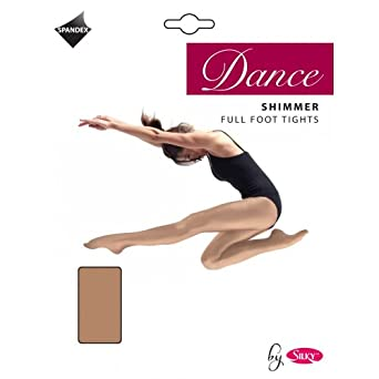 Girls 1 Pair Silky Dance Shimmer Full Foot Tights In 2 Colours - 5-7 Years - Toast