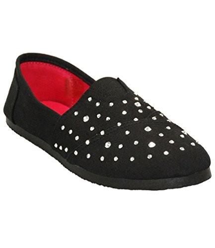 Women's Black Canvas Slip-on Shoes with Crystal Design and Red Inner Sole - Comfortable and Lightweight - Size 8./8.5 (Cloth Ninja Shoes compare prices)