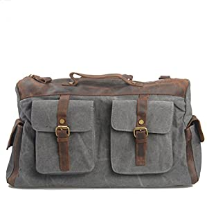 Good Quality Canvas Leather Luggage Travel Tote Duffel Handbag (Grey) for Men's Gift from Honetech