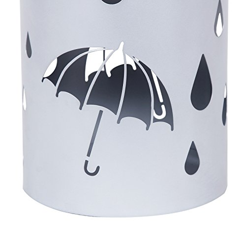 Songmics Metal Umbrella Stand Silver Gray Umbrella Holder Home Office Decor with Drip Tray and Hooks ULUC23S