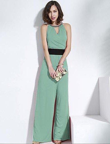 Summers HU&HU joannekitten® Frauen sexy Neckholder-Sicke Split lange Overall , light green-l , light green-l