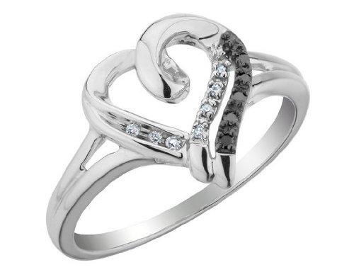 White and Black Diamond Heart Promise Ring 1/10 Carat (ctw) in Sterling Silver, Size 9