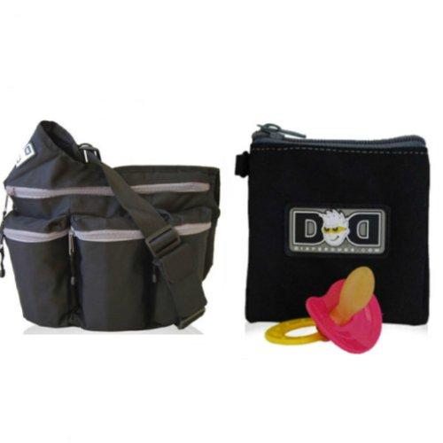 Bundle - 2 Items: Diaper Dude Original Messenger Bag (Color: Black) + Diaper Dude Pacifier Holder (Color: Black) front-17865