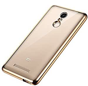 AMOL BAZAR Meephone Transparent Soft Silicon Flexible Electroplated Edges TPU Back Case Cover for Xiaomi Mi Redmi Note 3