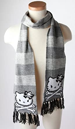 3243b70d4 Hello Kitty Angry Kitty Grey Striped Scarf